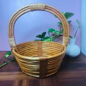 vtg retro wooden wicker basket